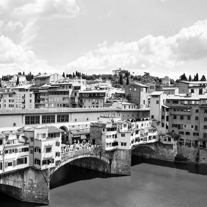 Vista Arno Firenze in Bianco e Nero