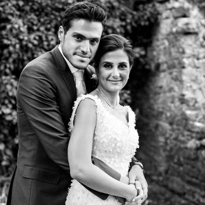 Villa i Collazzi ritratto sposi bianco e nero